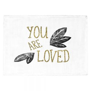 Countertop Place Mats | Zara Martina - You Are Loved Gold Black Leaves | Love Leaves Inspiring Wedding