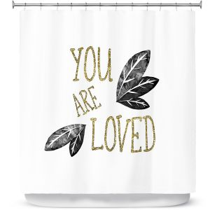 Premium Shower Curtains | Zara Martina - You Are Loved Gold Black Leaves | Love Leaves Inspiring Wedding