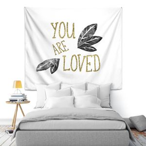 Artistic Wall Tapestry | Zara Martina - You Are Loved Gold Black Leaves | Love Leaves Inspiring Wedding