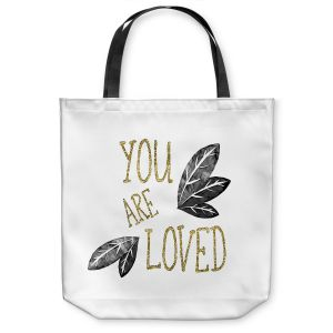 Unique Shoulder Bag Tote Bags | Zara Martina - You Are Loved Gold Black Leaves | Love Leaves Inspiring Wedding