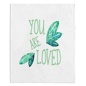 Decorative Fleece Throw Blankets | Zara Martina - You Are Loved Mint leaves | Love Leaves Inspiring Wedding