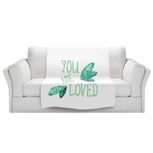 Artistic Sherpa Pile Blankets | Zara Martina - You Are Loved Mint leaves | Love Leaves Inspiring Wedding