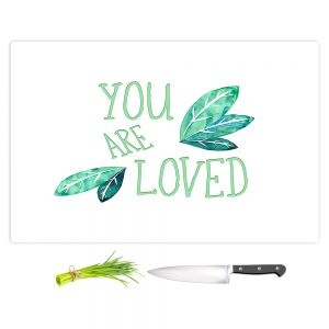 Artistic Kitchen Bar Cutting Boards | Zara Martina - You Are Loved Mint leaves | Love Leaves Inspiring Wedding
