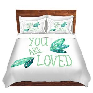 Artistic Duvet Covers and Shams Bedding | Zara Martina - You Are Loved Mint leaves | Love Leaves Inspiring Wedding