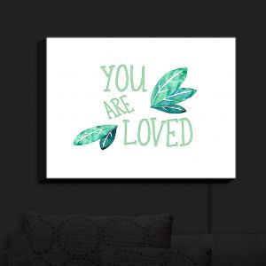 Nightlight Sconce Canvas Light | Zara Martina - You Are Loved Mint leaves