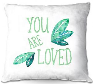Decorative Outdoor Patio Pillow Cushion   Zara Martina - You Are Loved Mint leaves   Love Leaves Inspiring Wedding