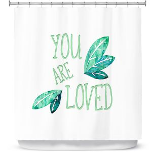 Premium Shower Curtains | Zara Martina - You Are Loved Mint leaves | Love Leaves Inspiring Wedding