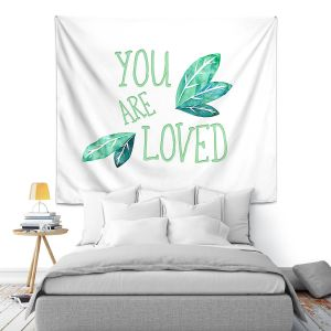 Artistic Wall Tapestry | Zara Martina - You Are Loved Mint leaves | Love Leaves Inspiring Wedding