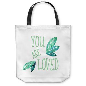 Unique Shoulder Bag Tote Bags | Zara Martina - You Are Loved Mint leaves | Love Leaves Inspiring Wedding