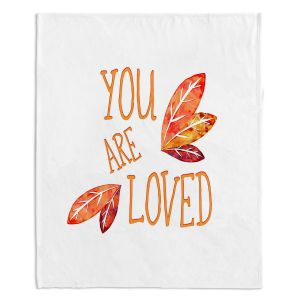 Decorative Fleece Throw Blankets | Zara Martina - You Are Loved Naranja Leaves | Love Leaves Inspiring Wedding