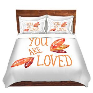 Artistic Duvet Covers and Shams Bedding | Zara Martina - You Are Loved Naranja Leaves | Love Leaves Inspiring Wedding