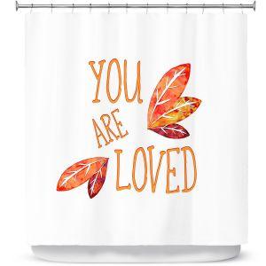 Premium Shower Curtains | Zara Martina - You Are Loved Naranja Leaves | Love Leaves Inspiring Wedding