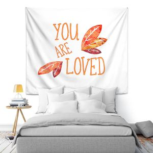 Artistic Wall Tapestry | Zara Martina - You Are Loved Naranja Leaves | Love Leaves Inspiring Wedding