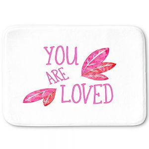 Decorative Bathroom Mats | Zara Martina - You Are Loved Pink Leaves | Love Leaves Inspiring Wedding