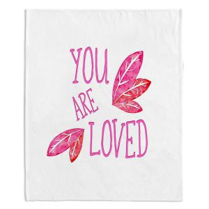Decorative Fleece Throw Blankets | Zara Martina - You Are Loved Pink Leaves | Love Leaves Inspiring Wedding
