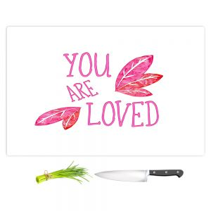 Artistic Kitchen Bar Cutting Boards | Zara Martina - You Are Loved Pink Leaves | Love Leaves Inspiring Wedding