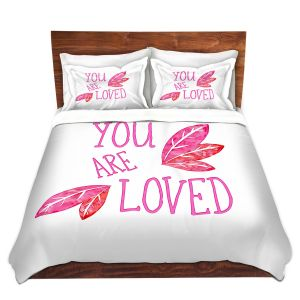 Artistic Duvet Covers and Shams Bedding | Zara Martina - You Are Loved Pink Leaves | Love Leaves Inspiring Wedding