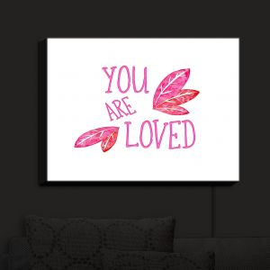 Nightlight Sconce Canvas Light | Zara Martina - You Are Loved Pink Leaves