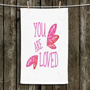 Unique Hanging Tea Towels | Zara Martina - You Are Loved Pink Leaves | Love Leaves Inspiring Wedding