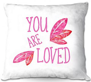 Decorative Outdoor Patio Pillow Cushion | Zara Martina - You Are Loved Pink Leaves | Love Leaves Inspiring Wedding