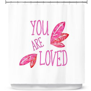 Premium Shower Curtains | Zara Martina - You Are Loved Pink Leaves | Love Leaves Inspiring Wedding
