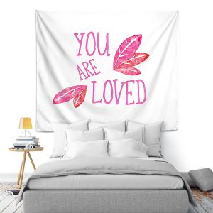 Artistic Wall Tapestry | Zara Martina - You Are Loved Pink Leaves | Love Leaves Inspiring Wedding
