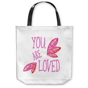 Unique Shoulder Bag Tote Bags | Zara Martina - You Are Loved Pink Leaves | Love Leaves Inspiring Wedding