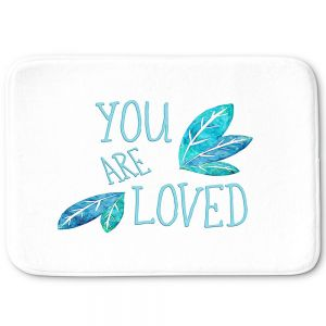 Decorative Bathroom Mats | Zara Martina - You Are Loved Teal Leaves | Love Leaves Inspiring Wedding