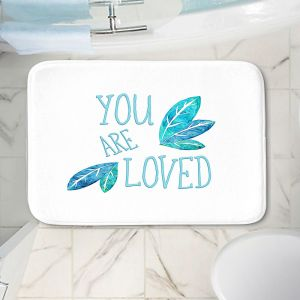 Decorative Bathroom Mats | Zara Martina - You Are Loved Teal Leaves | Love Leaves Inspiring Wedding