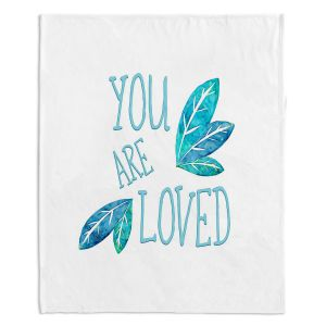 Decorative Fleece Throw Blankets | Zara Martina - You Are Loved Teal Leaves | Love Leaves Inspiring Wedding
