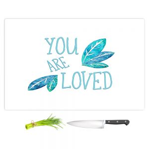 Artistic Kitchen Bar Cutting Boards | Zara Martina - You Are Loved Teal Leaves | Love Leaves Inspiring Wedding