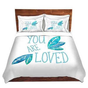 Artistic Duvet Covers and Shams Bedding | Zara Martina - You Are Loved Teal Leaves | Love Leaves Inspiring Wedding