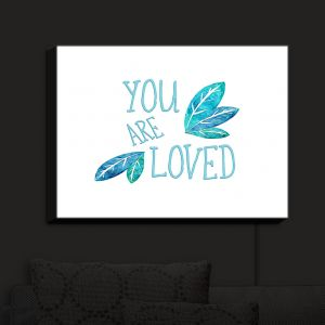Nightlight Sconce Canvas Light | Zara Martina - You Are Loved Teal Leaves
