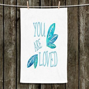 Unique Hanging Tea Towels | Zara Martina - You Are Loved Teal Leaves | Love Leaves Inspiring Wedding