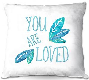 Throw Pillows Decorative Artistic | Zara Martina - You Are Loved Teal Leaves | Love Leaves Inspiring Wedding