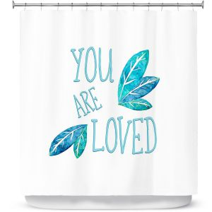 Premium Shower Curtains | Zara Martina - You Are Loved Teal Leaves | Love Leaves Inspiring Wedding