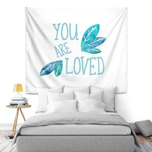 Artistic Wall Tapestry | Zara Martina - You Are Loved Teal Leaves | Love Leaves Inspiring Wedding