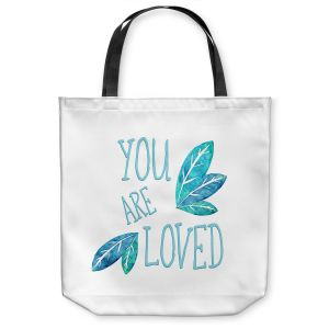 Unique Shoulder Bag Tote Bags | Zara Martina - You Are Loved Teal Leaves | Love Leaves Inspiring Wedding