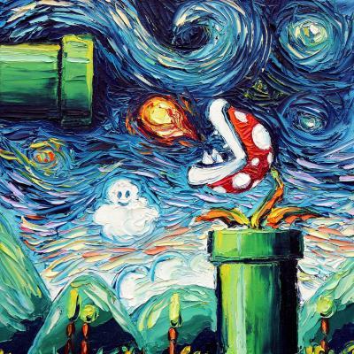 DiaNoche Designs Artist | Aja Ann - Van Gogh Super Mario Bros 2