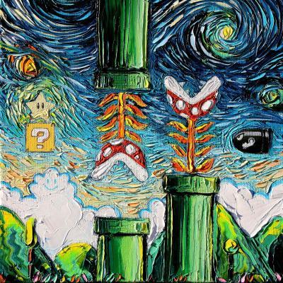 DiaNoche Designs Artist   Aja Ann - van Gogh Super Mario Bros