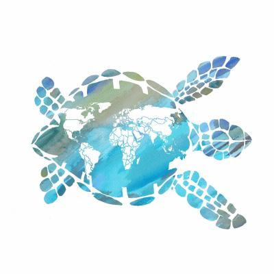 DiaNoche Designs Artist | Catherine Holcombe - World Map Sea Turtle