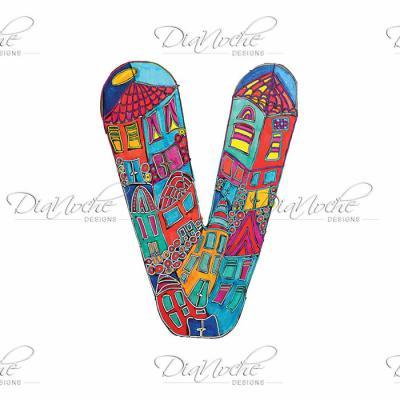 DiaNoche Designs Artist | Dora Ficher - Alphabet Letter V