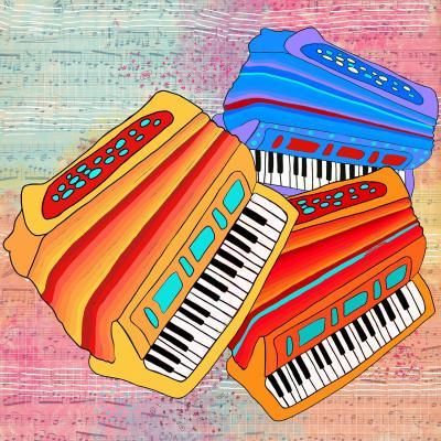 DiaNoche Designs Artist   Dora Ficher - Colorful Accordians
