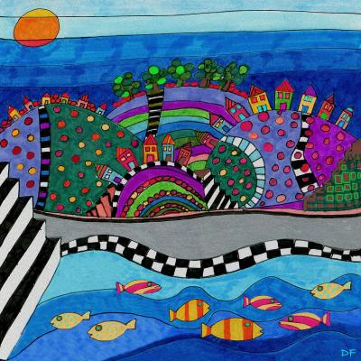 DiaNoche Designs Artist   Dora Ficher - Colorful Hills
