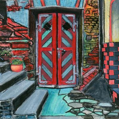 DiaNoche Designs Artist   Dora Ficher - Door Bottom Steps