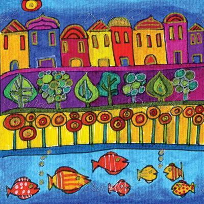 DiaNoche Designs Artist   Dora Ficher - Fishing Village