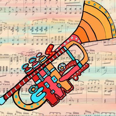 DiaNoche Designs Artist | Dora Ficher - Lets Play the Trumpet