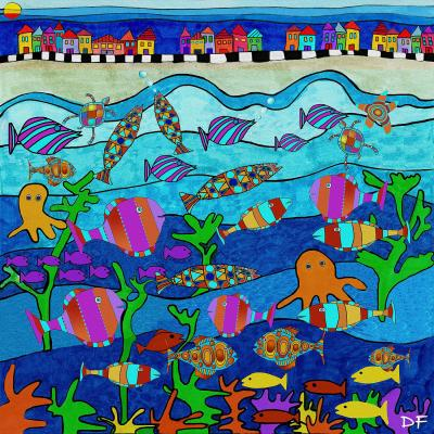 DiaNoche Designs Artist | Dora Ficher - LIttle Houses By the Sea