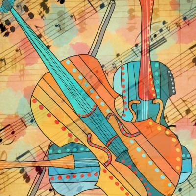 DiaNoche Designs Artist   Dora Ficher - The Three Violins 2