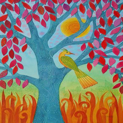 DiaNoche Designs Artist | Jennifer Baird - Bird In Red Leaf Tree